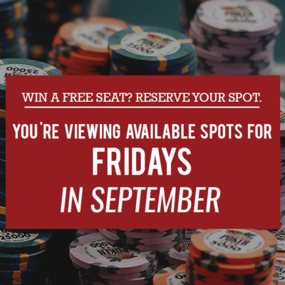 Free Seat Reservations: Fridays in September