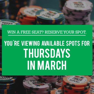 Free Seat Reservations - Thursdays in March